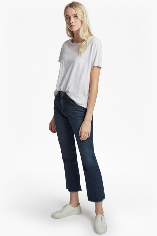ash denim cropped kick flare jean