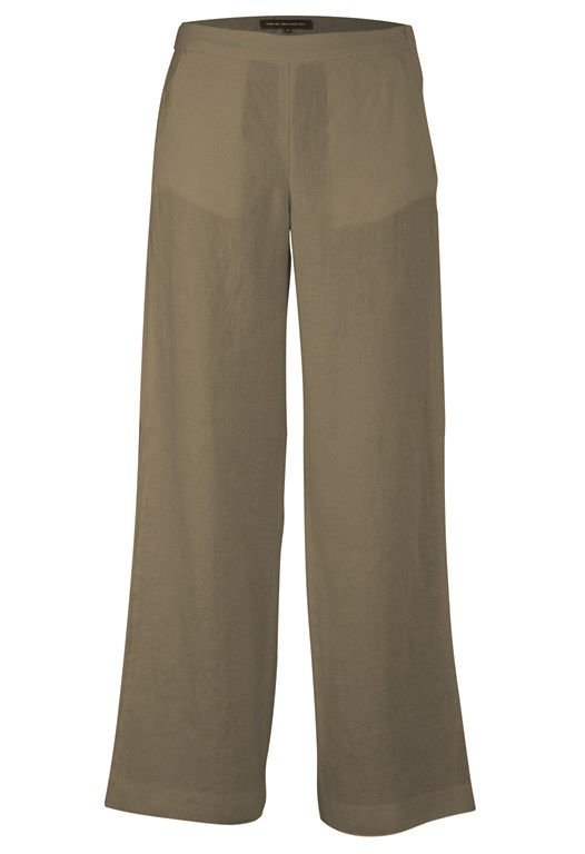 Linen Wide Leg Trousers White, Green