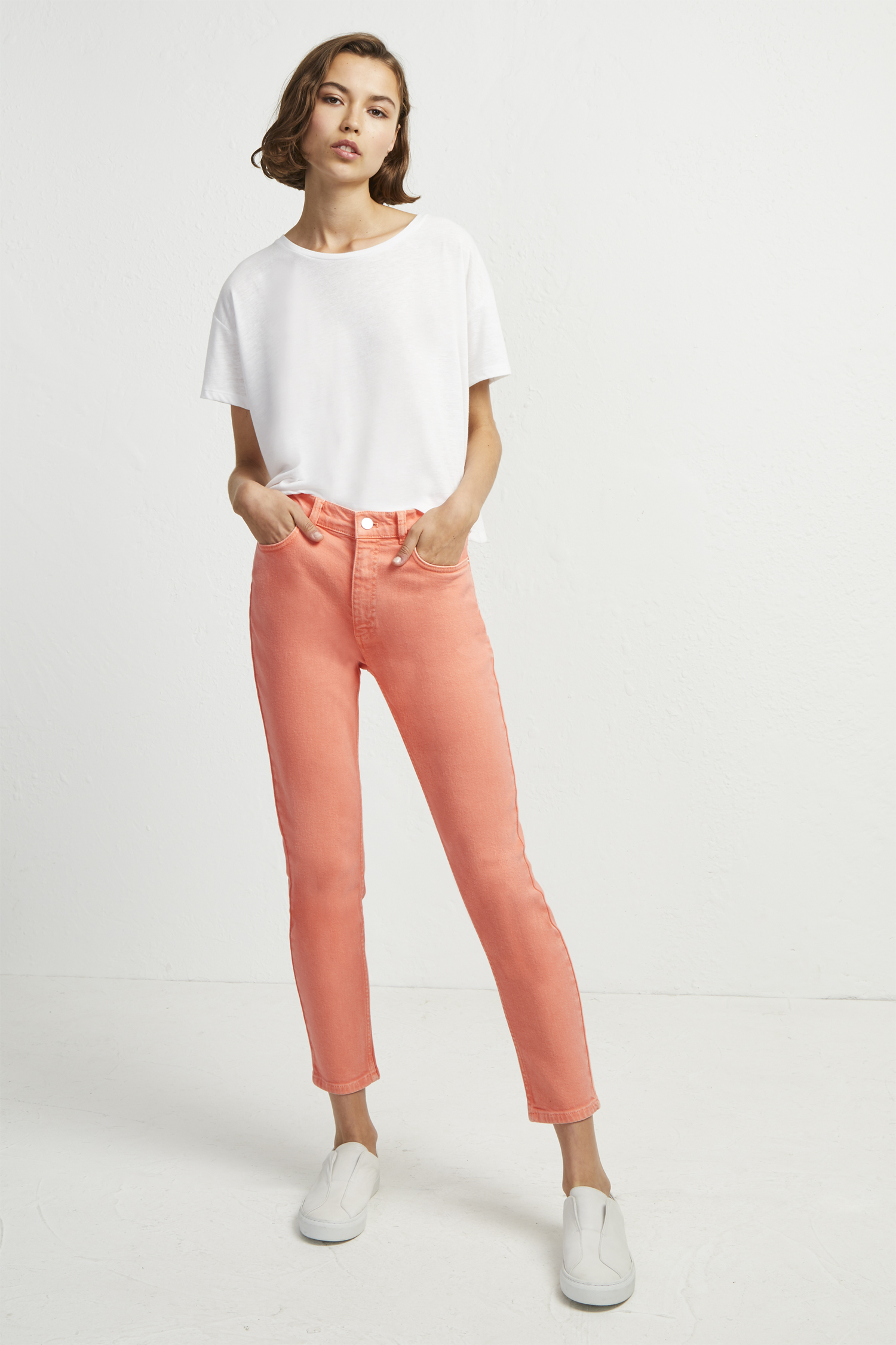 Antique Dye Ankle Grazer Skinny Jeans - coral sands