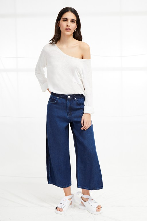 denim wide leg culottes