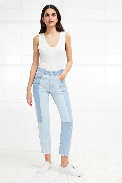 bleach block denim high rise straight jeans