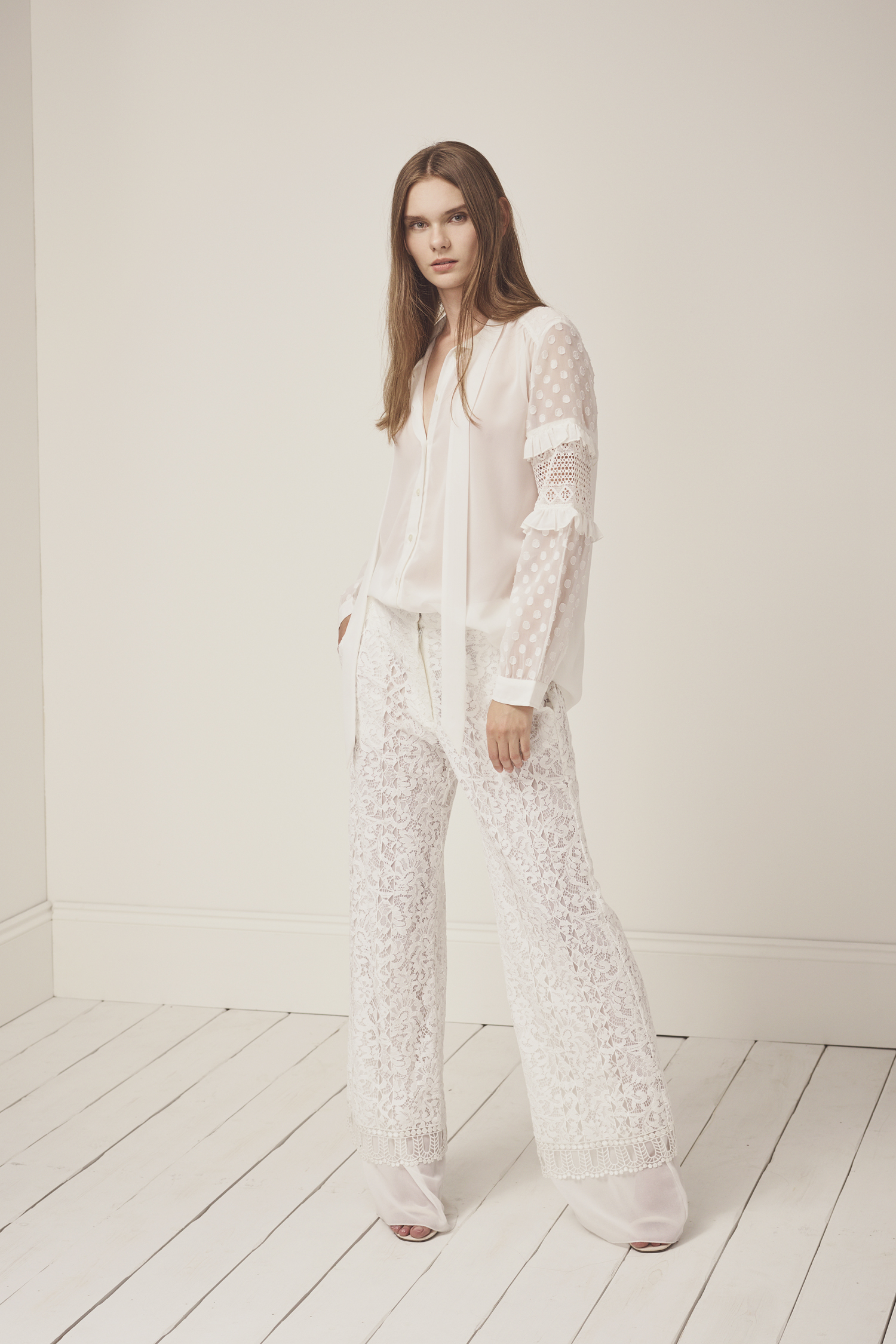 Arta Lace Layer Trousers - white