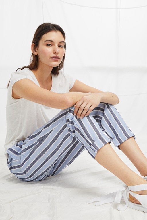 Complete the Look Serra Stripe Tie Waist Joggers