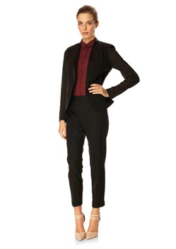 Wool Slim Trousers Black