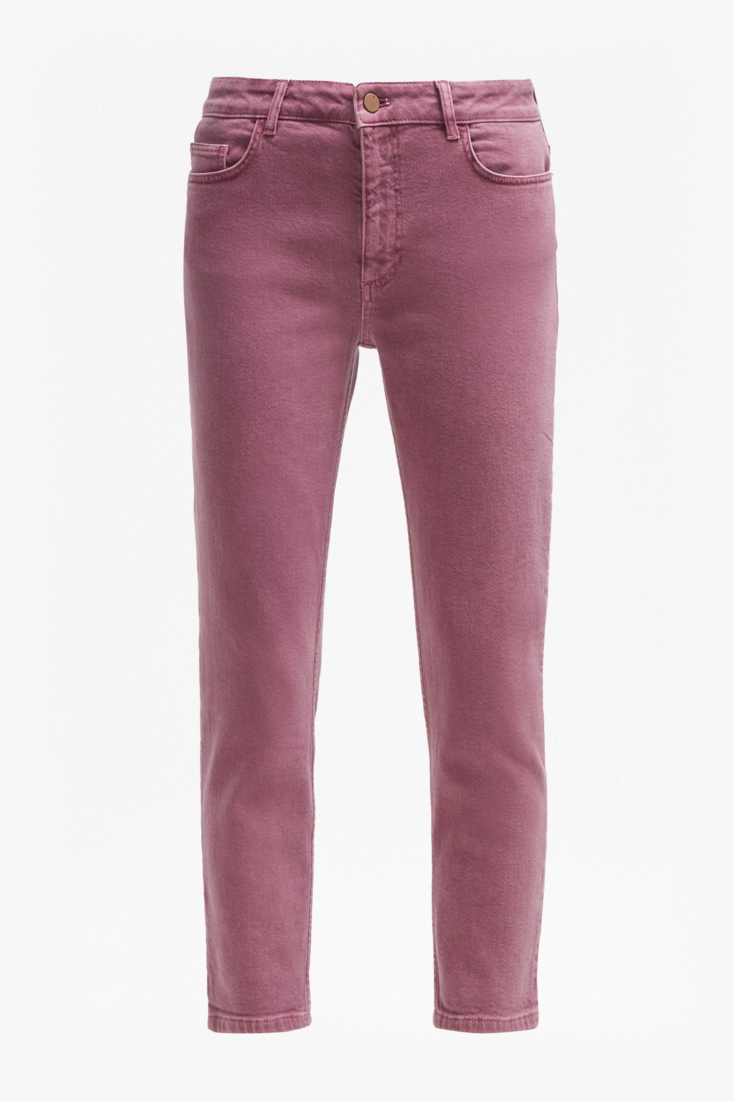 Antique Dye Relaxed Tapered Jeans - light baked cherry