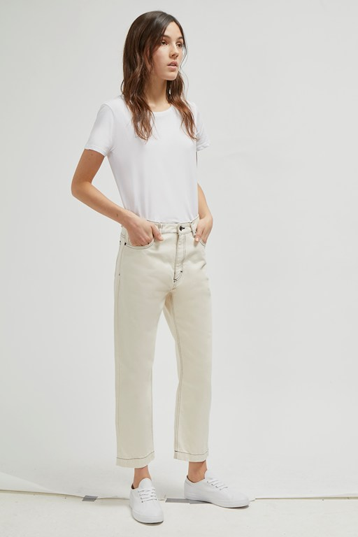iris seeded cotton straight leg jeans