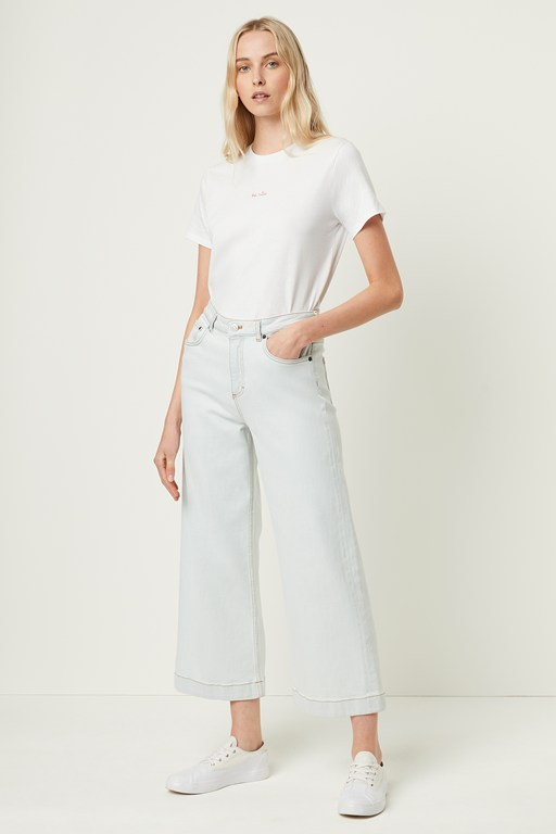 lamier denim wide leg cropped jeans