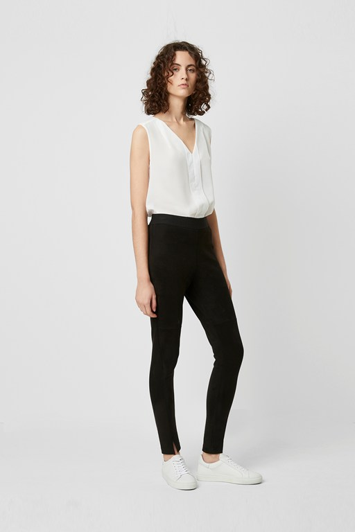 sonya suedette front split leggings