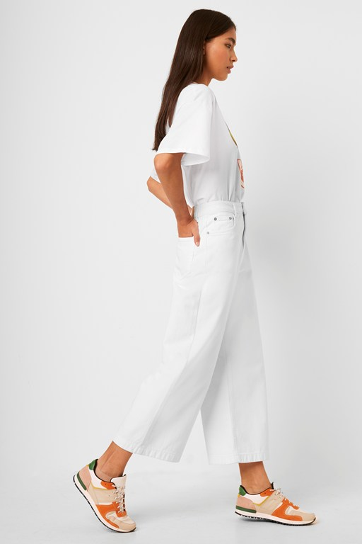 reem denim high waisted culottes