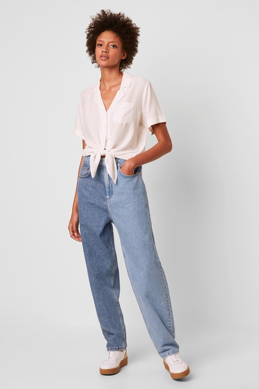Complete the Look Yoshie Two Tone High Waist Boyfriend Jeans