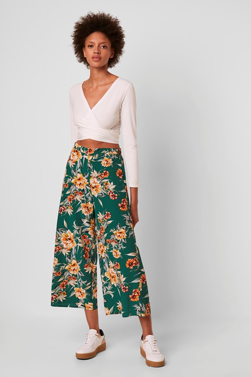 claribel floral cropped culottes
