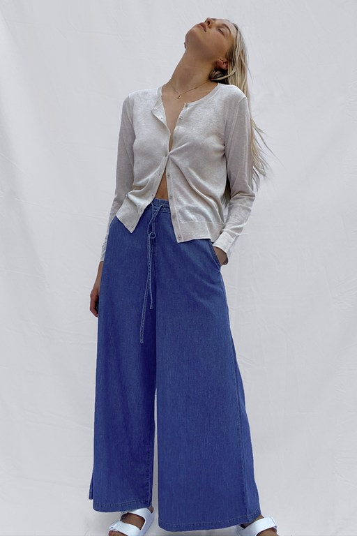 sencha cotton chambray drawstring culottes