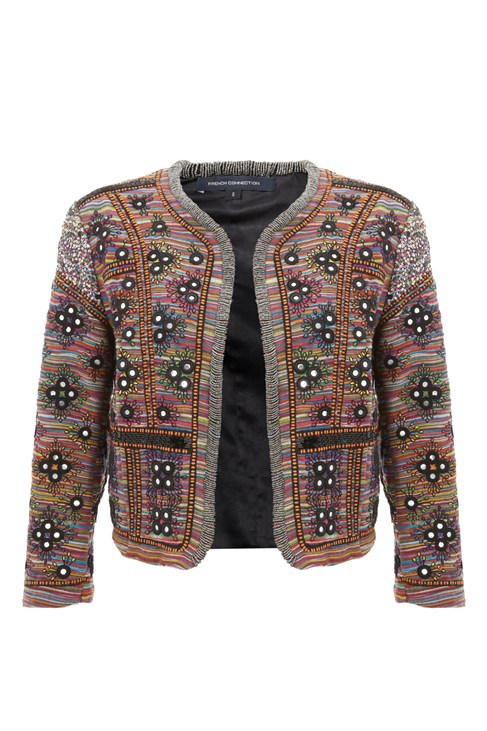Green Floral Print Cocoon Jacket