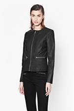 Looks Great With Plush Collarless Biker Jacket