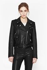 Looks Great With Chaos Leather Studded Biker Jacket
