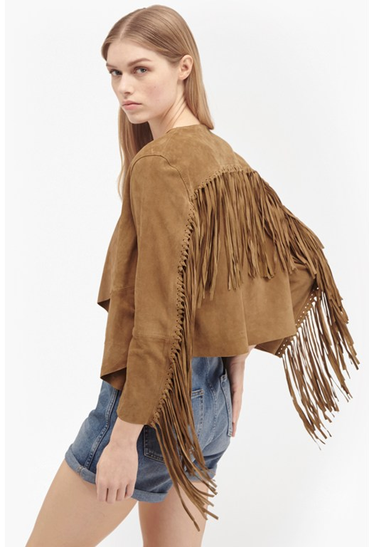 Honey Suede Fringed Jacket