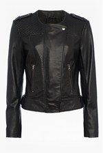 Looks Great With Gough Weaved Panels Leather Jacket