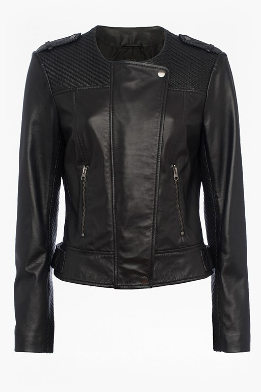 Complete the Look Gough Weaved Panels Leather Jacket