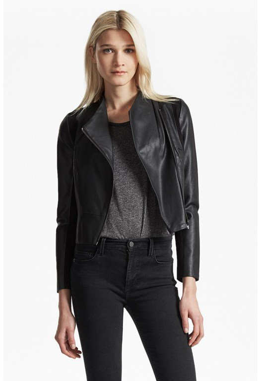 Chariot Wrap Over Faux Leather Jacket