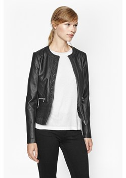Plush Collarless Biker Jacket