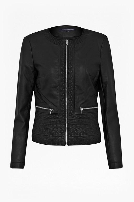 Complete the Look Plush Collarless Biker Jacket