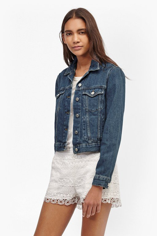 micro western denim jacket