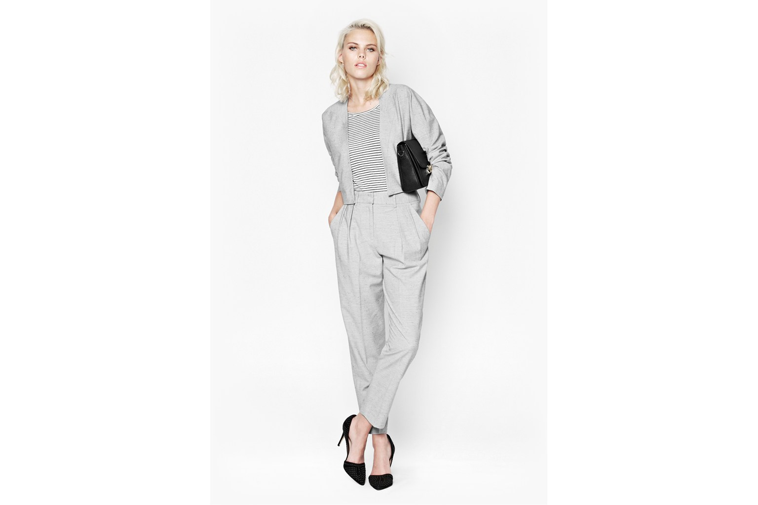Product photo of Sonia suiting boxy jacket grey