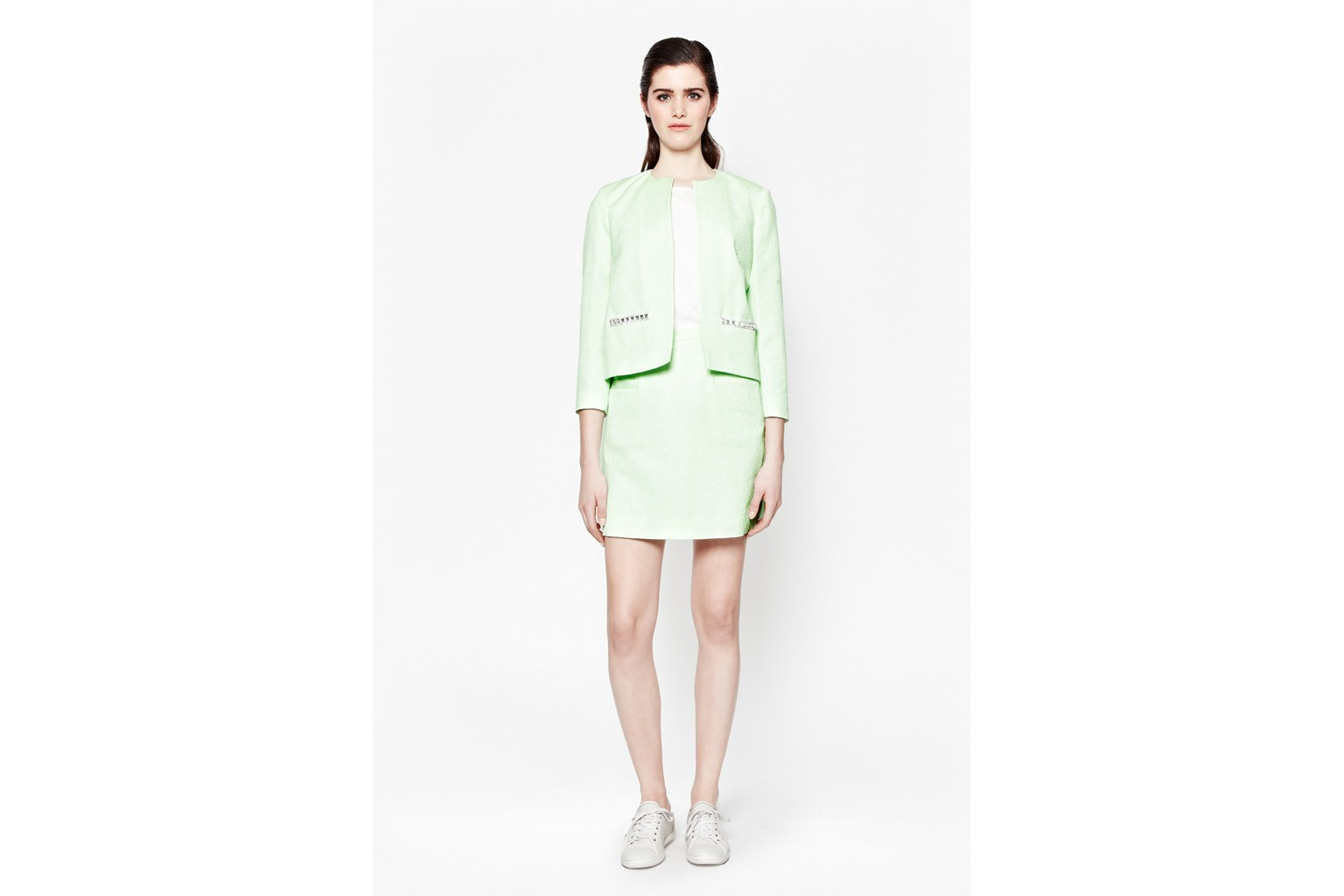 Product photo of Lickety split collarless jacket green