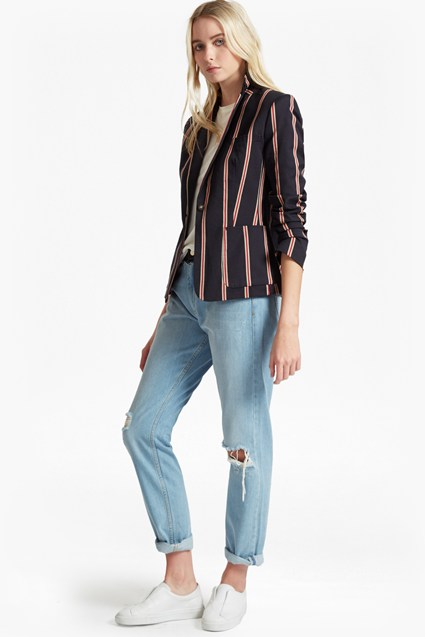 Freddy Stripe Single Breast Blazer