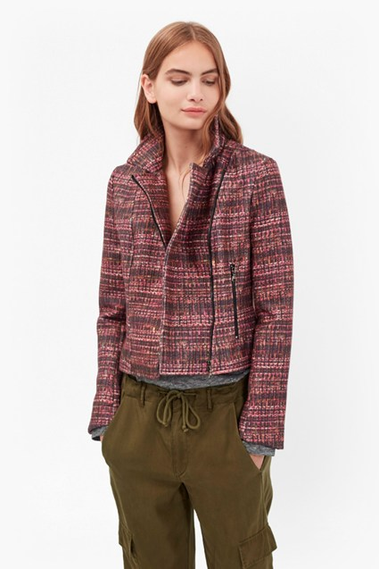 Felicity Tweed Print Biker Jacket