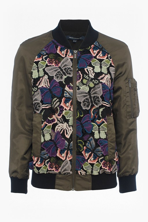 Complete the Look Rivera Floral Embroidered Bomber Jacket