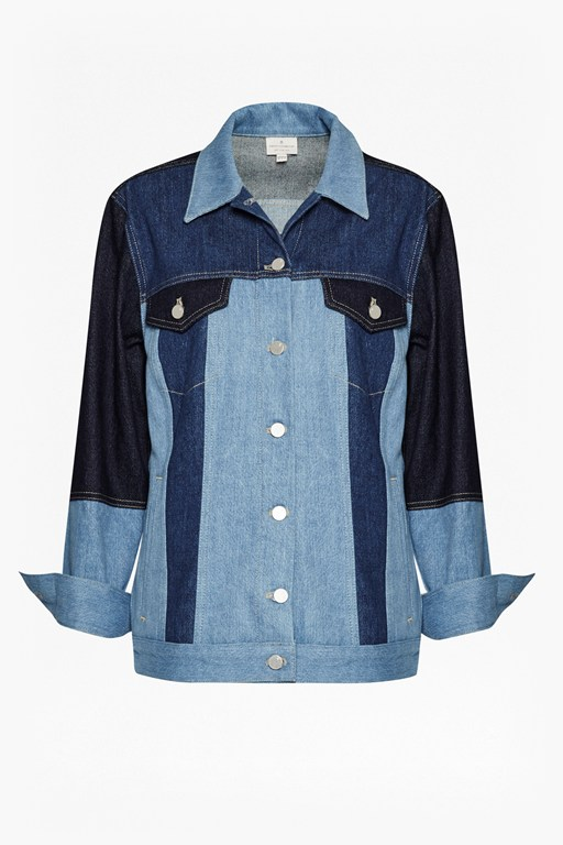 Complete the Look Indigo Patched Slouchy Denim Jacket