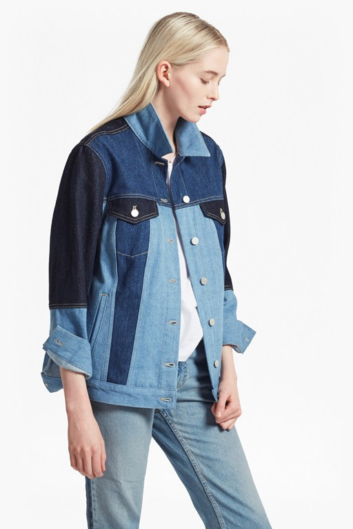 indigo patched slouchy denim jacket
