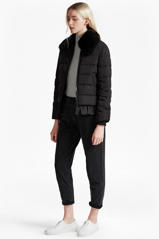 penny mix ruffled hem puffer jacket