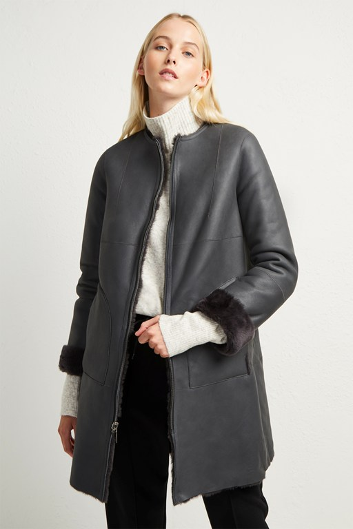 zelda shearling zip reversible coat