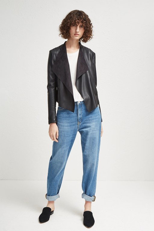 stephanie faux leather waterfall jacket