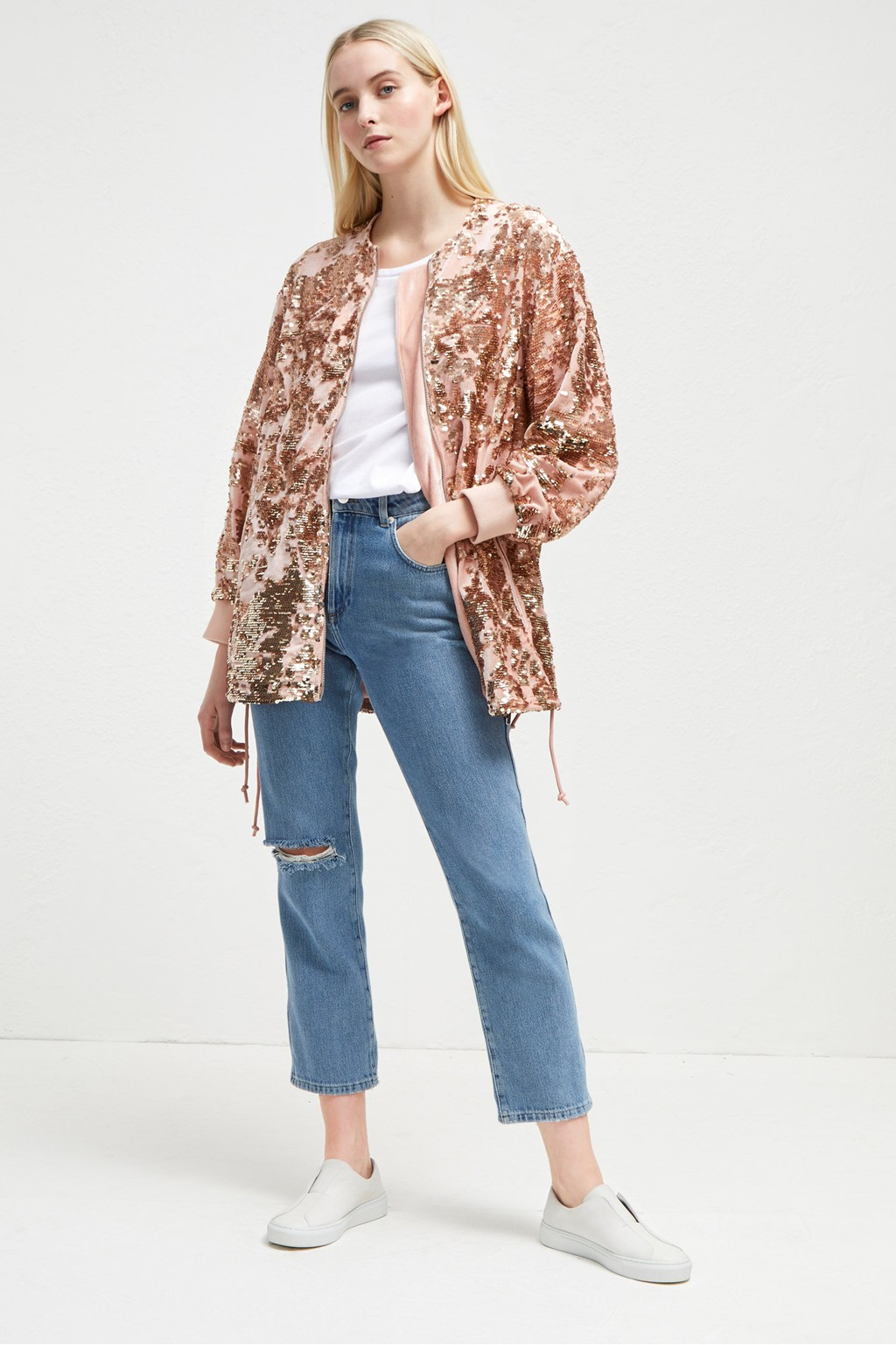 b93056c5 Adette Shine Sequin Bomber Jacket | Collections | French Connection