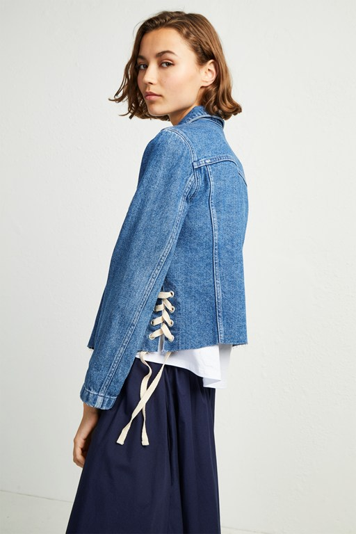 soft authentic side tie denim jacket