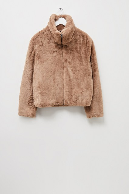 Buona Faux Fur High Neck Jacket