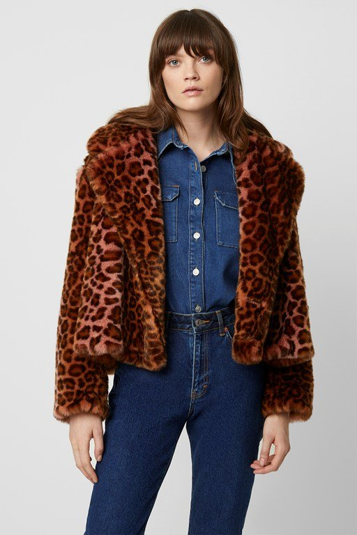 analia ombre leopard faux fur oversized jacket