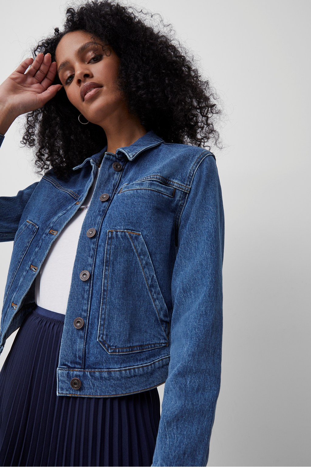 Robyne Recycled Cropped Denim Jacket   Collections   French Connection