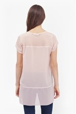 Looks Great With Polly Chiffon Raw Edge T-Shirt