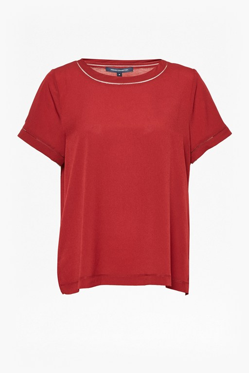Complete the Look Crepe Light Stitch Detail Top