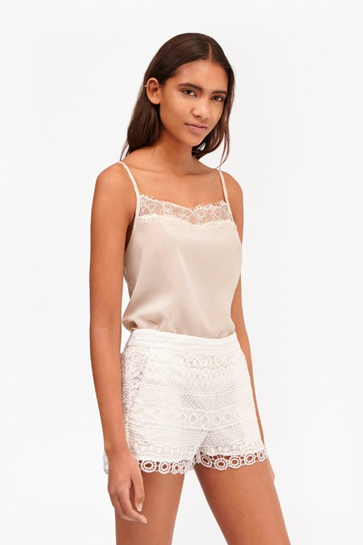 Complete the Look Polly Plains Lace Trim Cami Top