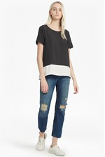 Looks Great With Crepe Light Colour Block T-Shirt