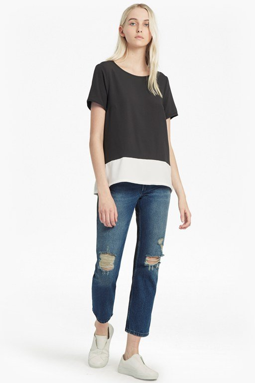 Complete the Look Crepe Light Colour Block T-Shirt