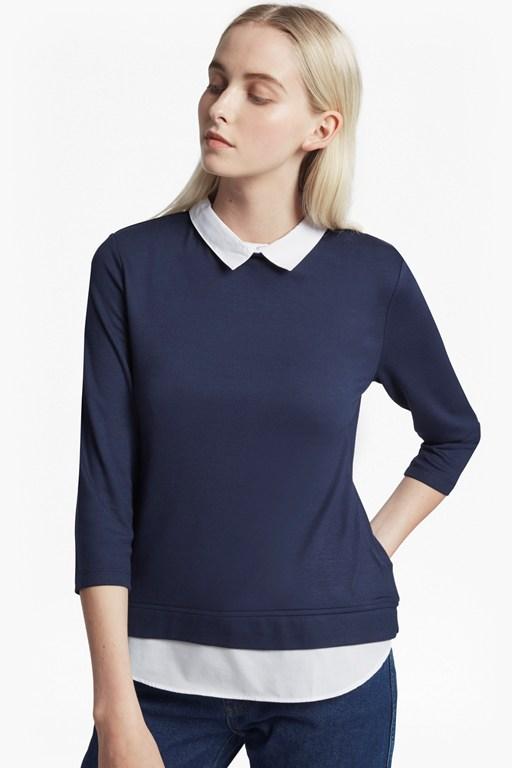 fresh jersey hem 3/4 sleeve top