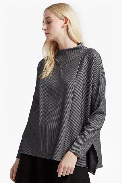 Sario Ribbed Jersey High Neck Top