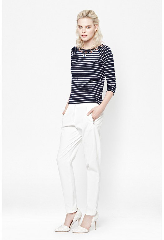 Bejewelled Jersey Stripe Top