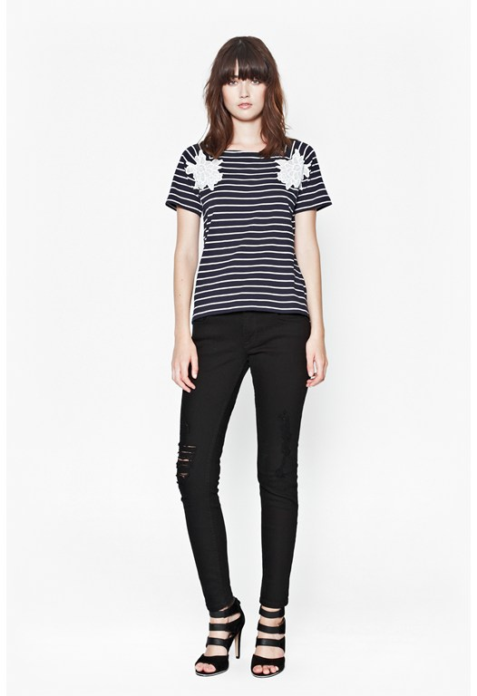 Sandra Lace Striped T-Shirt